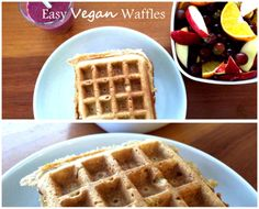 Easy Vegan Waffles  Ingredients  · 2 cups rolled oats  · 2 cups water  · 1 banana  · 1/2 tablespoon of sugar  · 1 teaspoon vanilla  · 1/2 teaspoon salt  Got all that? Great!   Now just follow 5 steps:  1. Preheat waffle iron  2. Blend all ingredients together in a blender  3. Pour the batter into the waffle iron  4. Cook until done  5. Enjooooooy! :)
