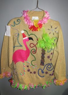 3-D Pink Flamingo Tacky Ugly Christmas Tropical Delight and total Fun Sweater Size 14/16. $55.00, via Etsy.
