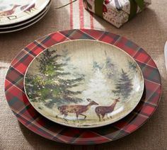 Love these Tartan plates and Deer in Snow salad plates from Pottery Barn.