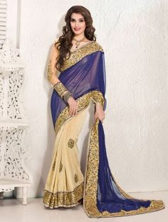 Blue And Cream Georgette Saree With Patch Work