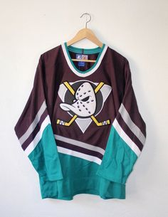 NEW Vintage 90s Original Anaheim Mighty Ducks Hockey Jersey by Starter Size  Medium Disney Era OG thr 994bee22a