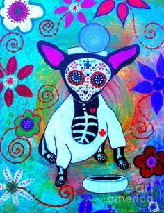Dia de los Muertos #dayofthedead #chihuahua doctor #prisarts  send me a message to purchase an original painting