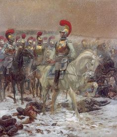 """Carabiniers à Eylau (1807), par Edouard Detaille, Président de La Sabretache. Qui a dit : """"Alors j'irai au pied de la colonne Vendôme et je crierai : c'est moi, c'est moi qui ai enfoncé le Grand Carré russe à Eylau ! Et le Bronze, lui, me reconnaîtra..."""""""
