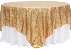 "Glitz Sequin Table Overlay Topper 90""x90"" Square - Gold | CV Linens"