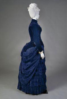 Royal blue afternoon dress with velvet bodice and silk taffeta skirt, American, ca. 1888, KSUM 1995.17.20 ab.