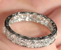 -love this Wedding band bling. Vintage French Retro Diamond Eternity Ring in Platinum c. Jewelry Box, Vintage Jewelry, Jewelry Accessories, Jewelry Rings, Cheap Jewelry, Pandora Jewelry, Men's Jewellery, Designer Jewellery, Jewellery Designs