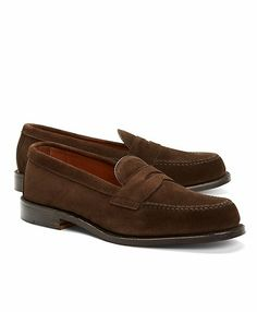 Handsewn Suede Penny Loafers - Brooks Brothers