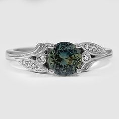 Platinum Sapphire Jasmine Diamond Ring // Set with a 6.5mm Teal Round Sapphire (From Unique Colored Gemstone Gallery) #BrilliantEarth