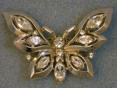 Vintage Crown Trifari Rhinestone Butterfly Brooch Silver Tone