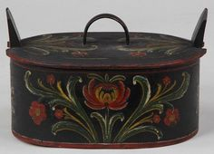 680.Norwegian tine is from the early 19th century or earlier.Theexceptional flower decoration ,I would say,was done mid 19th century.H.8 1/2in.,W.13 1/2in.,D.9in.(22cm by 34cm by 23cm). $985.00