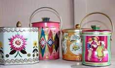 One of my other loves apart from vintage clothing is definitely vintage home wares. Recently, I have bought a few vintage tins and I know th. Vintage Canisters, Vintage Kitchenware, Vintage Tins, Vintage Love, Vintage Decor, Retro Vintage, Vintage Stuff, 1950s Decor, Tea Canisters