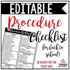 This EDITABLE procedure checklist is perfect for preparing for back to school…