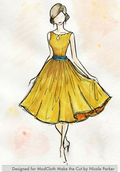"a sketch of the ""effortless allure dress"" in gold"
