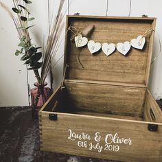 Personalised with your names and date to create the perfect storage box after your wedding day for your wedding memories. Rustic Card Box Wedding, Wedding Gift Boxes, Beach Wedding Favors, Wedding Crafts, Diy Wedding, Wedding Decorations, Wedding Card Boxes, Wedding Memory Box, Wedding Ideas