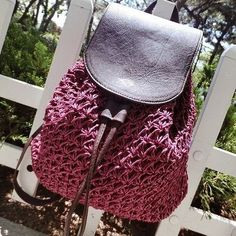 Boho-Style Crochet Straw Good Quality Leather Drawstring Backpack 4 Colors