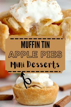 Muffin Tin Apple Pies are sweet, individual desserts that are simple to make. The flavors are amazing. Perfect for holidays and parties! #applepie #minipie Mini Apple Pies, Mini Pies, Individual Desserts, Mini Desserts, Pie Pops, Baked Apples, Pinterest Recipes, Holiday Recipes, Party Recipes
