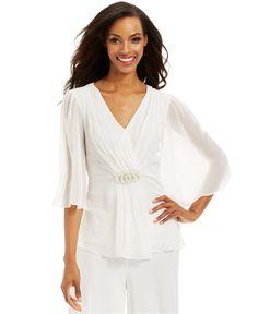 MSK Flutter-Sleeve Pearl-Brooch Top - Dresses - Women - Macy's