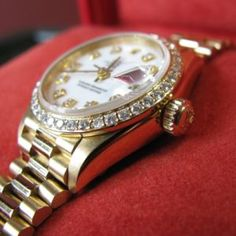 Ladies Gold President Rolex – Diamond Dial and Bezel – Box and Papers Rolex Logo, Gold Rolex, Galway Ireland, Gold Crown, Luxury Watches, 18k Gold, Bracelet Watch, Diamond, Antiques