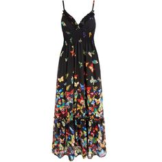 Yumi Butterfly Print Ruffle Maxi Dress (€55) ❤ liked on Polyvore featuring dresses, black, women, butterfly print dress, black boho dress, boho maxi dress, bohemian maxi dress and summer dresses