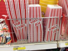 Family Movie Night:  Grab some of these popcorn containers from the Dollar Spot