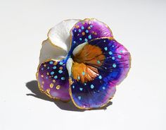PANSY RING FLOWER - Adjustable Statement One Of A Kind Fine Art Ring February Birth Flowers, Flower Names, Gothic Jewelry, Gold Flowers, Pansies, Statement Rings, Polymer Clay, Gold Rings, Copper