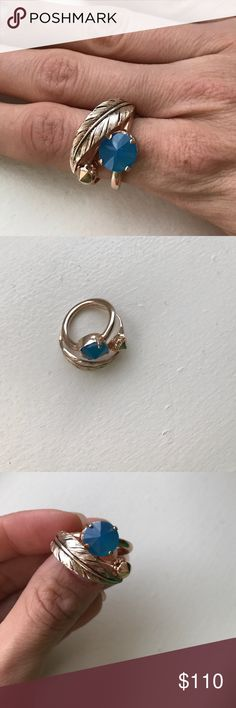 Beautiful Iosselliani Leaf Ring Gold-toned ring with a leaf and blue stone. The size is 6, but it runs a little bit big. Worn three time. Excellent condition. Offers are welcomed. Made in Italy. Gold-plated. Iosselliani Jewelry Rings
