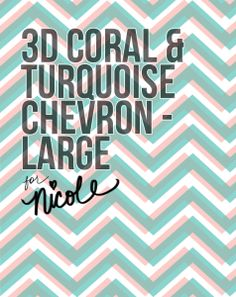 3D Coral & Turquoise Chevron download