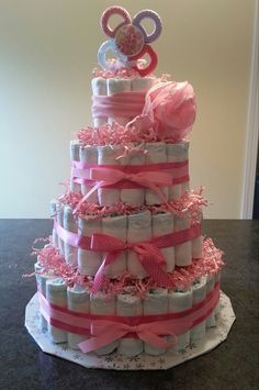 Diaper cake for baby girl