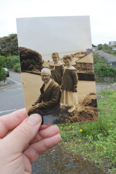 "Dearphotograph website - love the concept - put an old picture in front of the current setting, and snap a new picture. This one was: ""Dear Photograph, I wish we could say goodbye to Grandad just one more time. Love, Marsie and Josie"