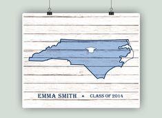 North Carolina map PERSONALIZED Graduation Gift by PrintCorner