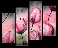 cuadros modernos tripticos florales pintadosa mano Floral Wall Art, Arte Floral, Flower Canvas, Flower Art, Acrylic Painting Canvas, Canvas Art, Encaustic Art, Painting Inspiration, Art Pictures