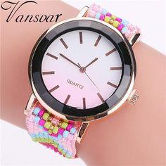 e450ef34641 Hot Selling Vansvar Fashion Handmade Braided Watch Casual Women Wrist  Watches Luxury Ladies Quartz Watches Relogio
