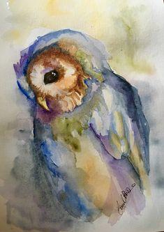 Owl Watercolor, Watercolor Pictures, Watercolor Artists, Watercolor Animals, Watercolor Illustration, Watercolour Painting, Painting & Drawing, Watercolours, Owl Art