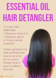 Essential oil DIY hair detangler