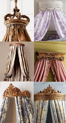 bed crown inspiration - Jackie Blue Home: Bed Crowns Fit For a King Dream Bedroom, Home Bedroom, Girls Bedroom, Bedroom Decor, Master Bedroom, Royal Bedroom, Bedroom Themes, Bedroom Designs, Bedroom Ideas