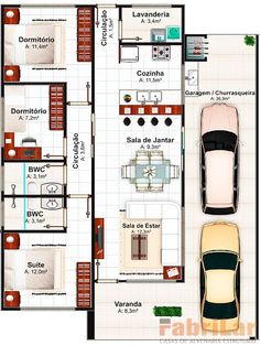3d House Plans, Narrow Lot House Plans, Small House Floor Plans, Simple House Plans, Home Design Floor Plans, Home Building Design, Dream House Plans, Modern Bungalow House, Bungalow House Plans