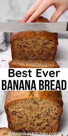 One Bowl Banana Bread, Moist Banana Bread, Banana Bread Recipe With 3 Bananas, Easy Banana Bread Muffins, Best Banana Cake Recipe Moist, Recipes With Bananas Healthy, Baking With Bananas, Diabetic Banana Bread, Best Healthy Banana Bread Recipe