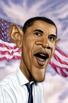 Caricature Barack Obama