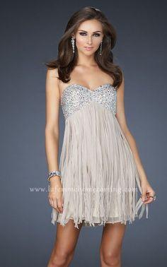 Nude Strapless Sequin Bodice Short Cocktail La Femme 17492 Dresses for Cheap
