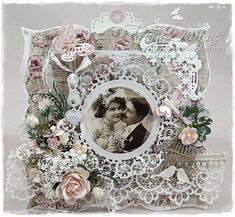 Wedding Card by LLC DT Member Tracy Payne, using papers from Maja Design's Vintage Autumn Basics collection.