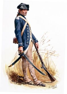 SOLDIERS- Troiani: AWI- America: American Sergeant of Colonel George Rogers Clark's Illinois Regiment of the Virginia Continental Line 1777, by Don Troiani.