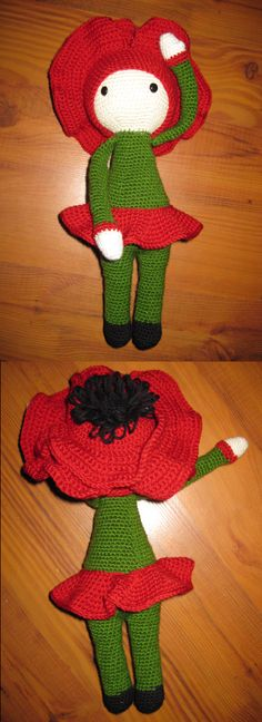 Crochet Poppy Paola flower doll made by Iwona J - crochet pattern by Zabbez