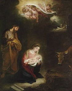The Nativity with the Annunciation to the Shepherds beyond - Bartolome Esteban Murillo - Oil Painting Reproductions Catholic Prayers, Catholic Art, Religious Art, Religious Photos, Philippe De Champaigne, Nativity Painting, Esteban Murillo, Jesus Christus, Blessed Mother Mary