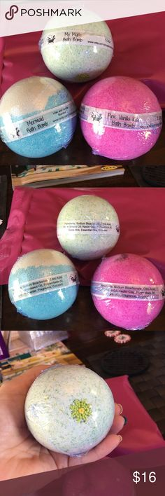 Bath Bomb Bundle PRICE IS FIRM! This is for 3 bath bombs. Not Lush, but make your skin feel great & your bath more enjoyable!  BB's are labeled according to FDA regulations.  1 Pink Vanilla Kiss (similar to VS) pink water 1 Mermaid (fresh lily scent) blue water lots of glitter 1 My Mojito (Spearmint/lemon/lime essent oils) Ingredients: Baking Soda Citric Acid Kaolin Clay Corn Starch in one Polysorbate 80 Goats Milk/Coconut Milk Powder  Grapeseed/sweet almond Oil Colorant Customized BB's…