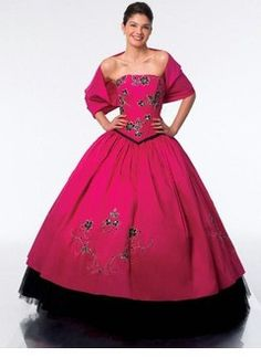 Ball gown strapless floor length taffeta tulle quinceanera dress with