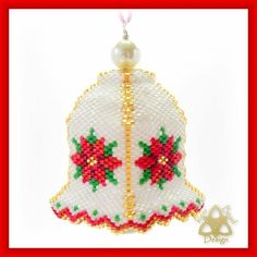 Beaded Christmas Decorations, Christmas Bells, Christmas Ornaments, Holiday Decor, Beaded Ornament Covers, Beaded Ornaments, Sharon Brown, Poinsettia, Step By Step Instructions
