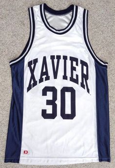 htf XAVIER MUSKETEERS BASKETBALL JERSEY White Navy Blue 30 MENS Sm Med SEE  SIZE  D  XavierMusketeers  xavierbasketball 52b3fcfbd