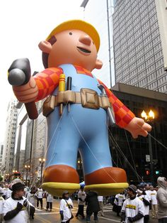 Bob the Builder has been in the McDonald's Thanksgiving Parade in 2009 and 2010.  Here, Bob is just starting down the State Street in 2010, being presented by New Holland Construction.