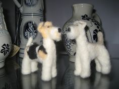 My first two needle felted creations ... my wire fox terrier pups
