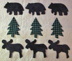 Set of 9  Moose Bear  Pine Tree Iron-on/Sew-on  by MarsyesShoppe